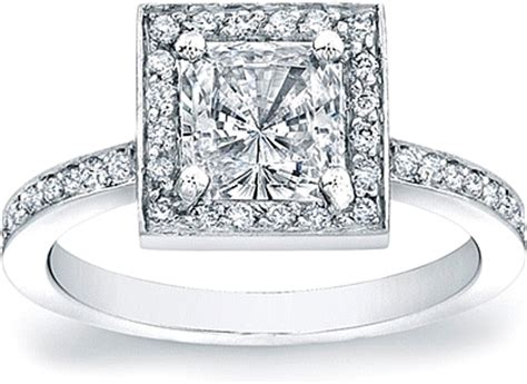 micro pave engagement ring for a princess cut