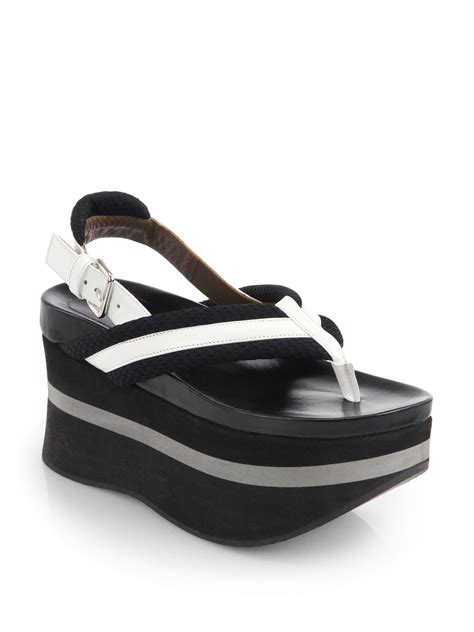 platform sandals marni patent leather canvas platform sandals in white
