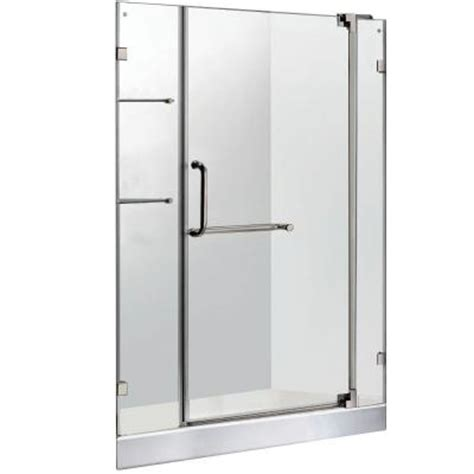 Frameless Glass Shower Doors Home Depot Vigo 47 75 In X 72 In Frameless Pivot Shower Door In Brushed Nickel With Clear Glass And White