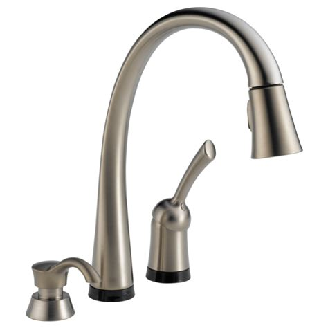 kitchen faucet with built in sprayer touch on touch faucet with touch o 174 technology delta