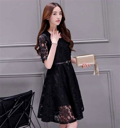 Dress Brokat Premium Import 11 dress brokat pendek modern warna hitam da202