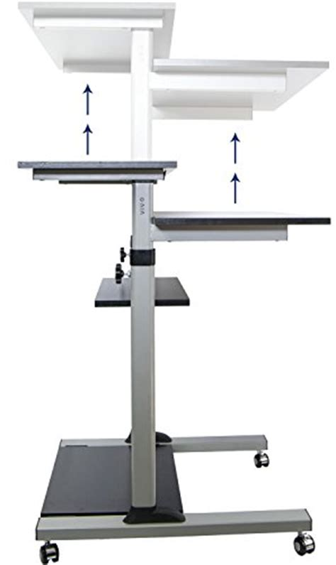 rolling stand up desk vivo mobile height adjustable stand up desk computer