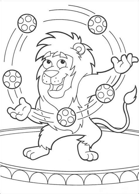 printable juggling instructions lion juggling with balloons coloring pages hellokids com
