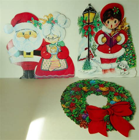 vintage cardboard christmas cutouts window decorations