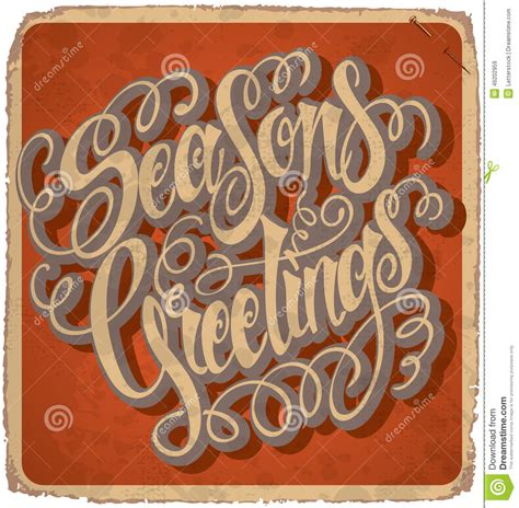 Handmade Lettering - seasons greetings lettering vintage card vector