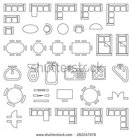Furniture Icons For Floor Plans Standard Furniture Symbols Used In Architecture Plans