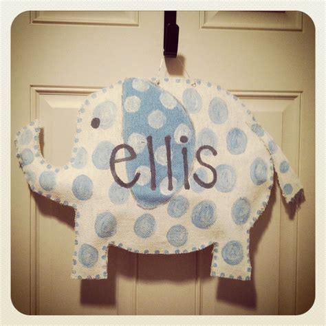 burlap door hanger baby boy elephant burlap door hanger burlap projects