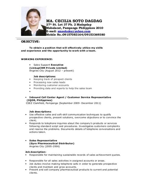 Staff Resume Philippines Call Center Resume Template Resume Builder