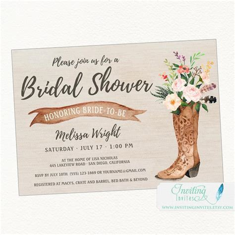 free printable bridal shower invitations rustic cowboy boot rustic bridal shower invitation country boho