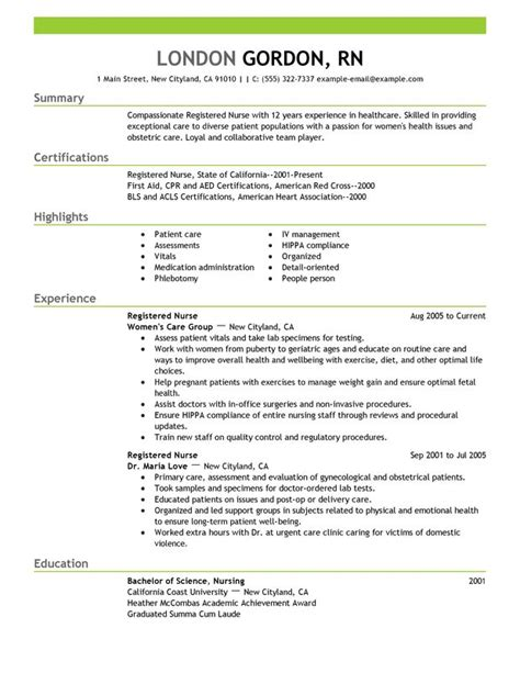 registered nurse resume sle work pinterest