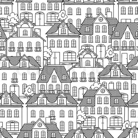 seamless pattern houses seamless vector pattern with houses and trees stock