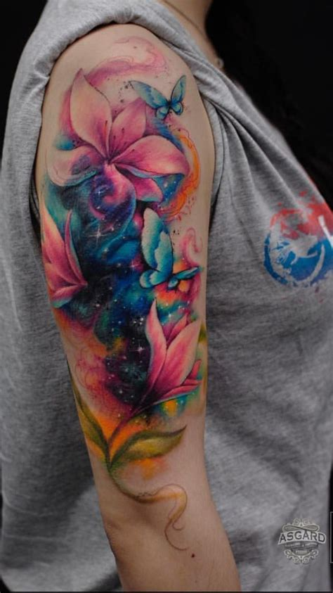 watercolor tattoo sleeves image result for butterfly with background arm