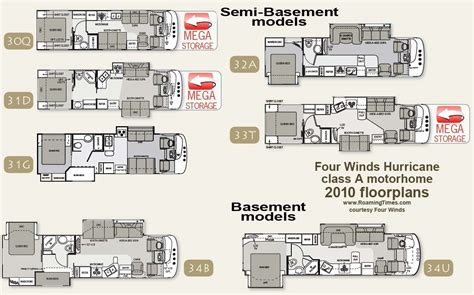 four winds travel trailer floor plans 2010 four winds hurricane class a motorhome floorplans