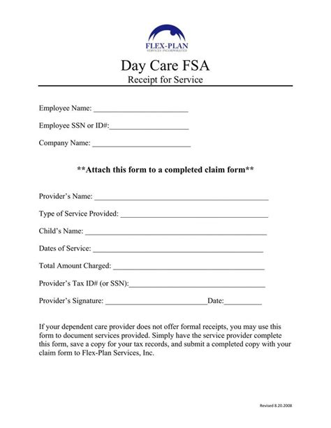 Day Care Free Daycare Receipt Template Free Premium
