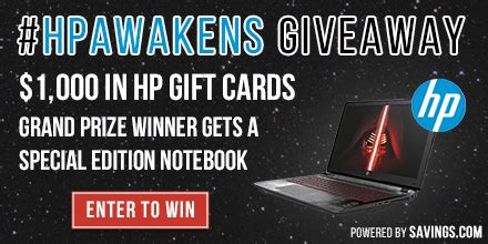 Hp Gift Card Promotion - today only enter to win an hp notebook or 100 gift card hpawakens
