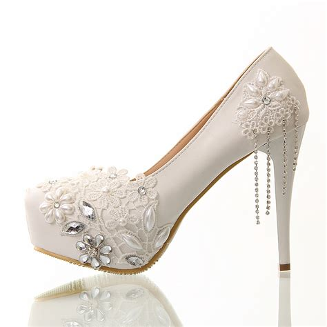 Wedding Shoes Stores by Aliexpress Buy Wedding Shoes White Lace Tassel Ultra