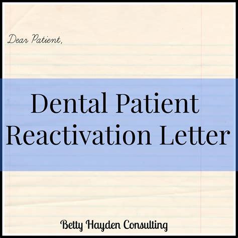Patient Welcome Letter Dental Dental Patient Reactivation Letter Hayden Consulting Where Your Success In Business And