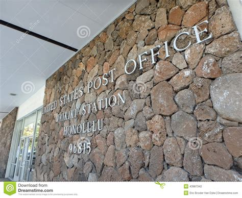 Post Office Waikiki by Metal Letters That Spell United States Post Office