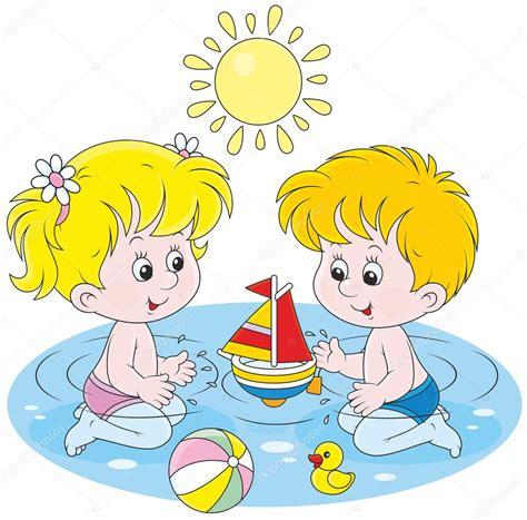 imagenes niños jugando en el mar ni 241 os jugando en el agua vector de stock 169 alexbannykh