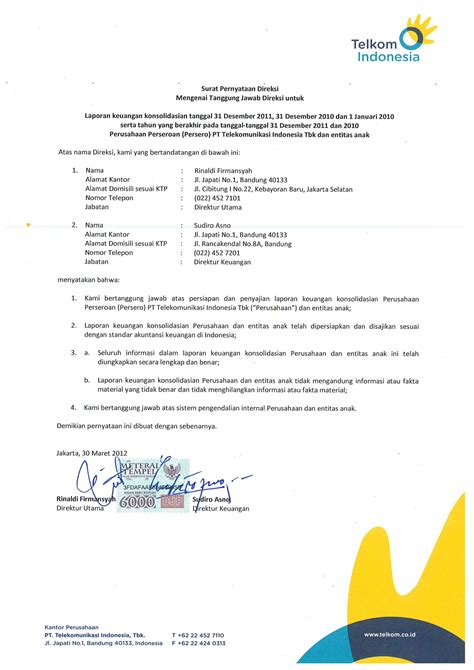 format laporan audit laporan auditor standar unqualified opinion pt telkom