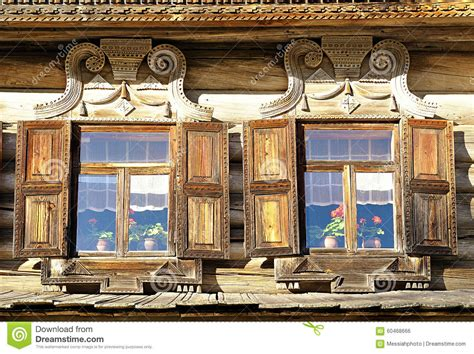 country style windows windows of wooden russian house built in traditional russian country style stock photo image