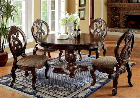 adrienne 5pc dining room table set traditional elegant tuscany 5 pcs formal elegant dining set round pedestal