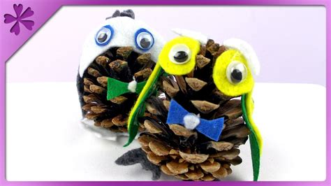 owl creations from pine cones and fluff diy pine cone owl autumn decoration eng subtitles speed up 138