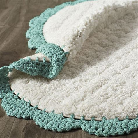 crochet edge teal bath rug everything turquoise