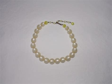 moonstone bead necklace vintage moonstone white lucite bead necklace with yellow
