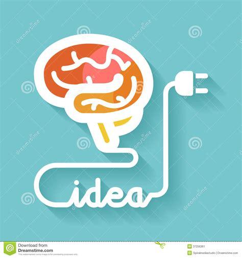 design an idea brain and idea stock image image of orange plug mind