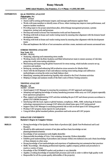 test analyst resume sles velvet test analyst resume objective gallery resume ideas
