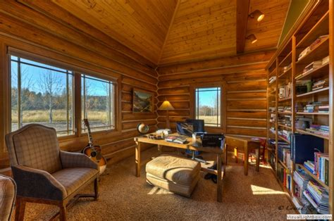 Cabin In Office log home tour whitefish mt estate