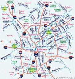 Atlanta On A Map by Metro Atlanta Georgia Map