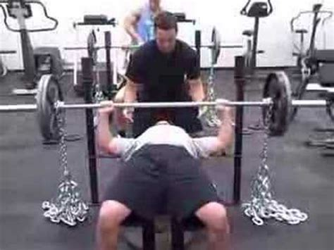 chain bench press phelps training systems steve brink chain bench press 235x5 youtube