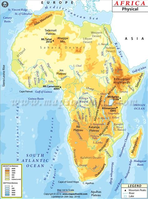 africa physical map world geography africa