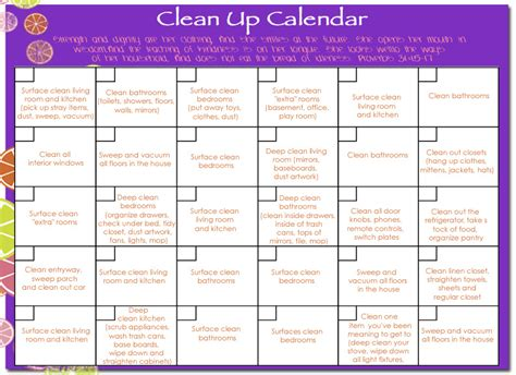 House Schedule by Cleaning House Monthly House Cleaning Schedule