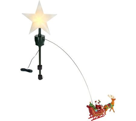 moving santa tree topper mr animated lit revolving santa sleigh tree topper page 1 qvc