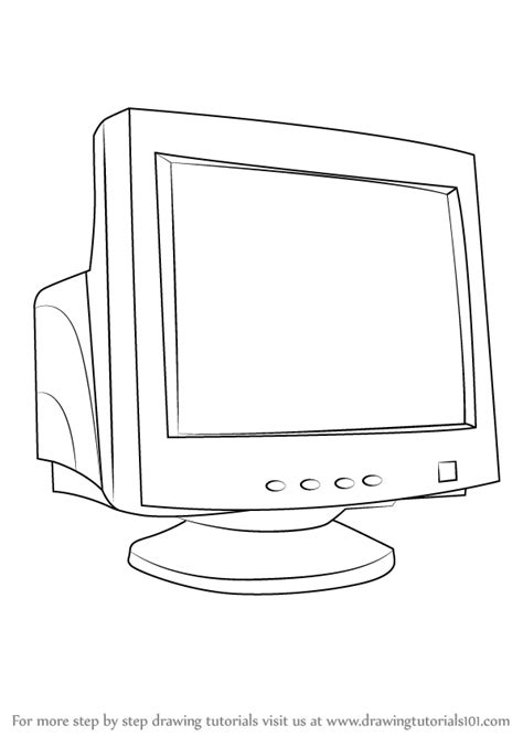 Drawing Computer by Learn How To Draw A Computer Monitor Computers Step By