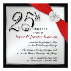 25th silver anniversary invitations zazzle
