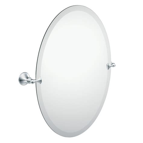 chrome bathroom mirrors shop moen glenshire 22 81 in x 26 in chrome oval frameless bathroom mirror at lowes com