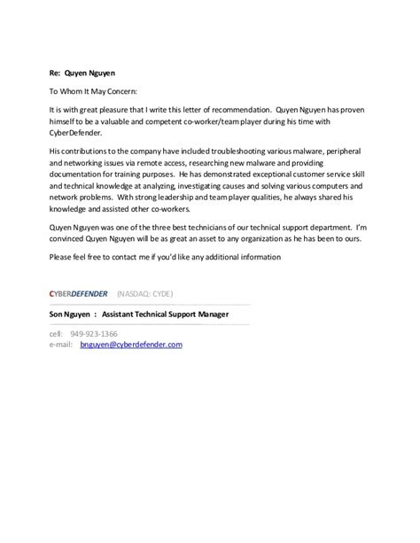 Recommendation Letter For On Recommendation Letter Quyen Nguyen