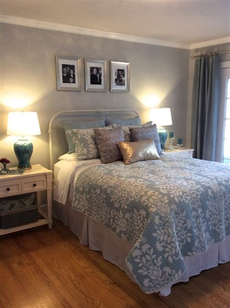 serene blue gold and silver master bedroom eclectic