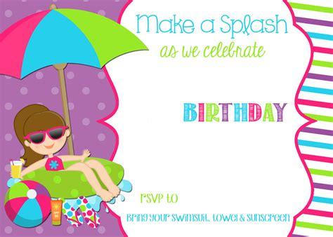 free printable pool party birthday invitations delli beriberi co