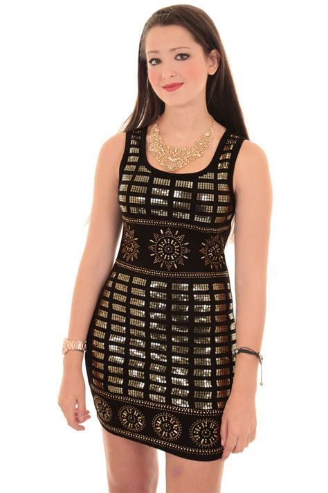 gold pattern mini dress ladies sleeveless gold sequin embroidery tight studded