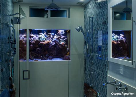 Aquarium Bathroom by In Shower Wall Custom Aquarium Installation