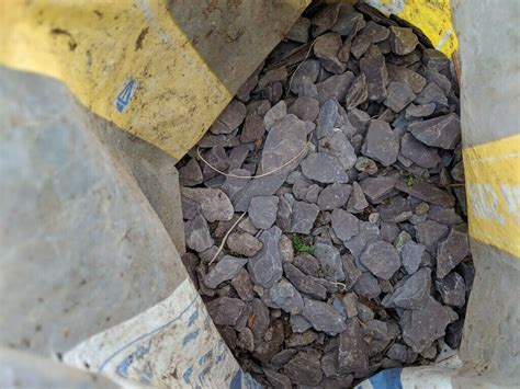 small bags  blue slate chippings earth  bags