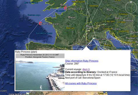 track cruise ships google earth  ship cruises