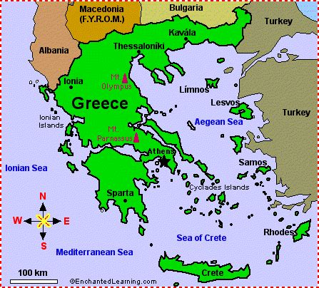 printable map of turkey and greece map of greece enchantedlearning com