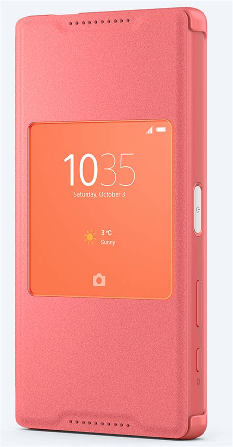 Sony Scr44 Style Cover Stand For Xperia Z5 Compact Original Coral new style cover window cases announced for xperia z5