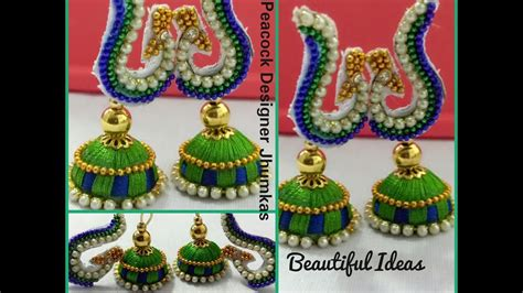 how to make silk thread peacock designer jhumkas